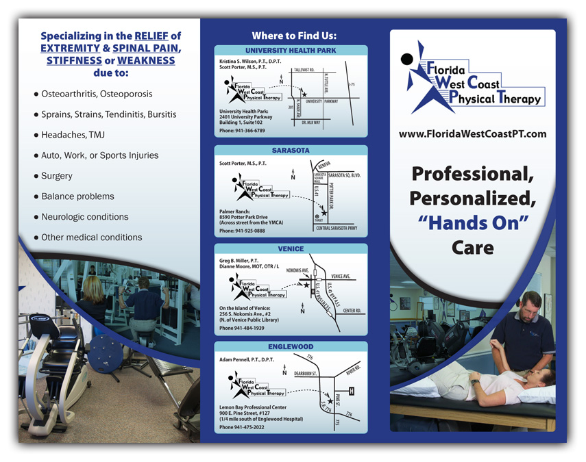 Florida west coast physical therapy brochure front - PRINT